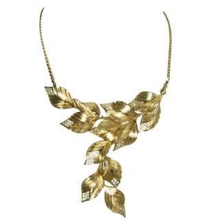 Vintage Signed Christian Dior Leaf & Crystal Bib Necklace For Sale