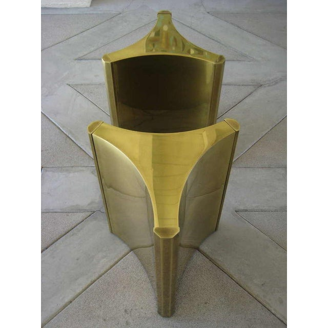 "Brass ""Trilobi"" Table Bases by Mastercraft - Pair - Image 4 of 5"