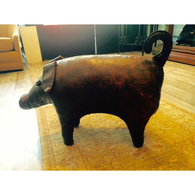 Abercrombie & Fitch Vintage Leather Pig Footstool - Image 4 of 6