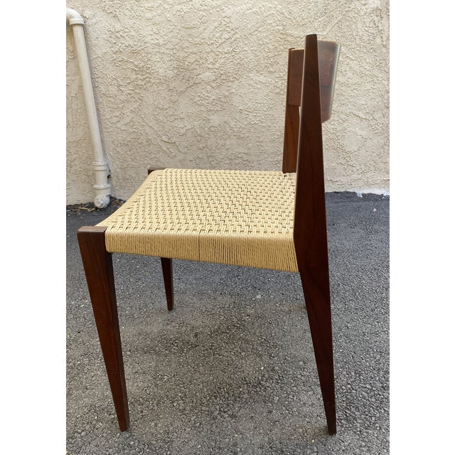 Wood Set of 4 Danish Teak Cord Seat Dining Chairs For Sale - Image 7 of 12