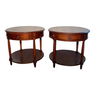 Drexel Heritage Round Occasional Tables - a Pair For Sale