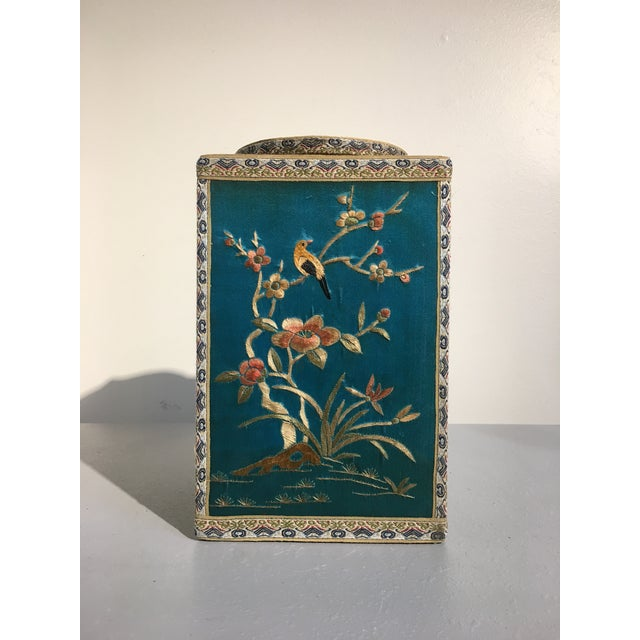 Chinoiserie Silk Embroidered Tea Caddy, circa 1920's For Sale - Image 4 of 9
