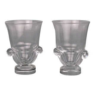Mid-Century Modern Steuben Glass Scroll Handle Vases by George Thompson - A Pair For Sale