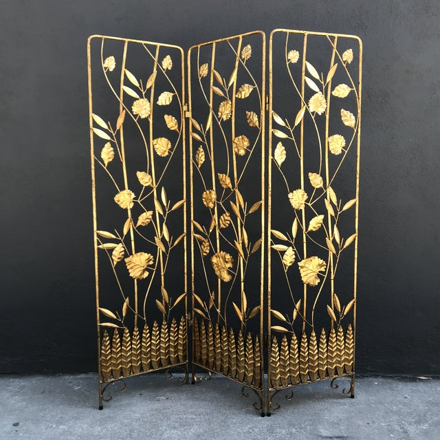 Gold Vintage Italian Gilt Ironwork Tole Screen For Sale - Image 8 of 10