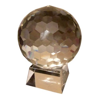 Decorative Cut Glass Ball on Glass Stand For Sale