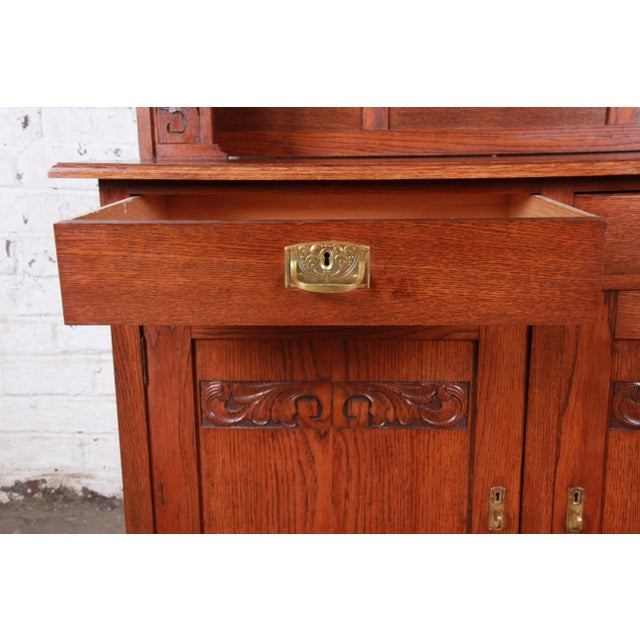 Metal American Arts & Crafts Carved Oak Sideboard With Hutch For Sale - Image 7 of 13