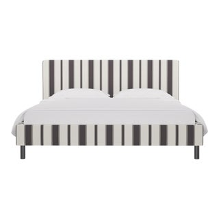 California King Tailored Platform Bed in Charcoal Clarence Stripe For Sale
