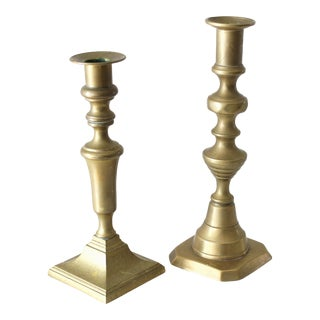 Early 20th Century Victorian Antique Brass Push Style Candlesticks - a Pair For Sale