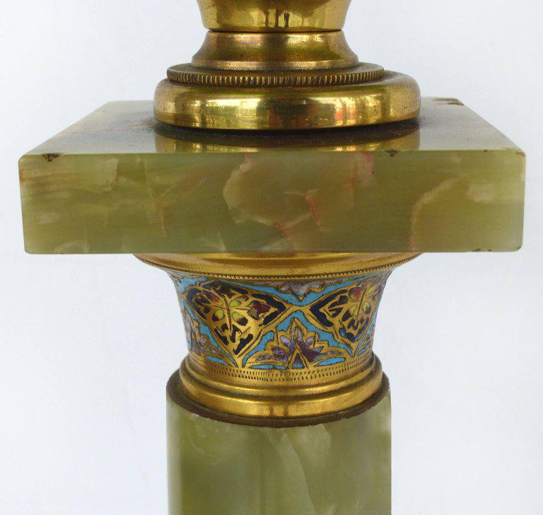 19th Century Onyx And Cloisonne Converted Banquet Oil Table Lamp   Image 5  Of 11