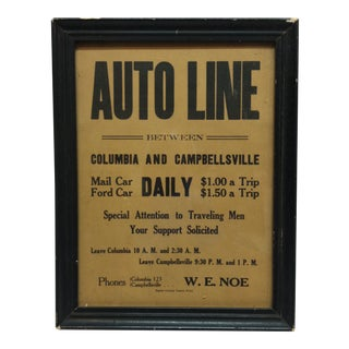 "1930 Vintage Framed Transportation Advertising Sign ""Auto Line"" For Sale"