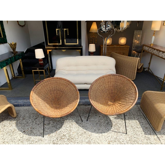 1950s Rattan Basket Armchairs - a Pair For Sale - Image 10 of 13
