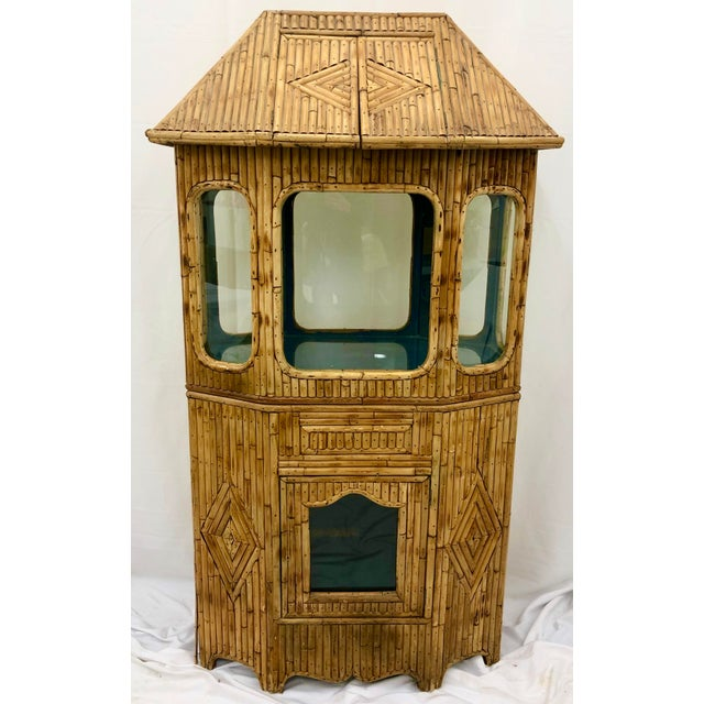 Asian Antique Split Bamboo Curiosity Cabinet Display Case For Sale - Image 3 of 8