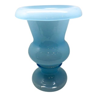 Vintage Light French Blue Glass Vase