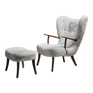 Madsen and Schübel 'Pragh' Lounge Chair With Ottoman, Denmark, 1950s For Sale