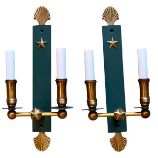 Pair of French Modern Wall Sconces, in the Style of Adnet For Sale