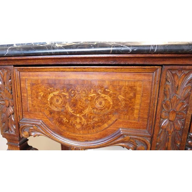 Italian Rococo Carved Mahogany Marble Top Console - Image 8 of 10
