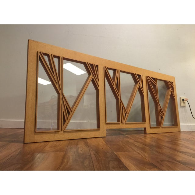 """Abstract White Oak and Glass Abstract Architectural Wall Sculpture Titled """"Third Window"""" For Sale - Image 3 of 8"""