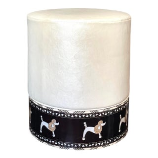 1980s Mother of Pearl Poodle Inlay Stool For Sale