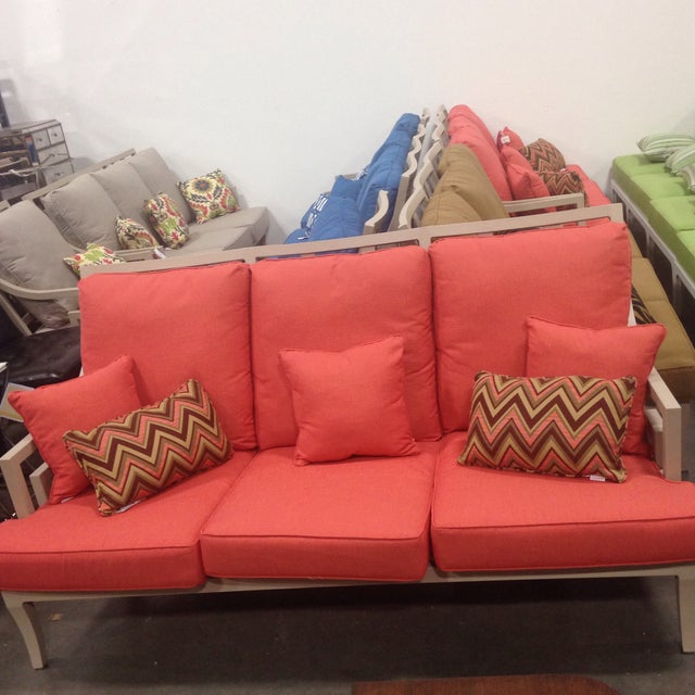 Lane Venture Outdoor Sofa, Peach Color For Sale - Image 5 of 10