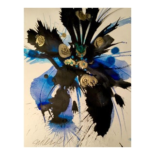 Sumi Blue & Gold Bomb Painting For Sale