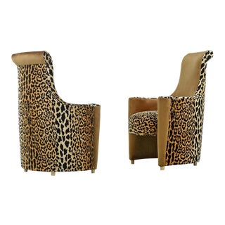 Scroll Headrest Neo Deco Velvet Leopard Print High Back Lounge Chairs For Sale