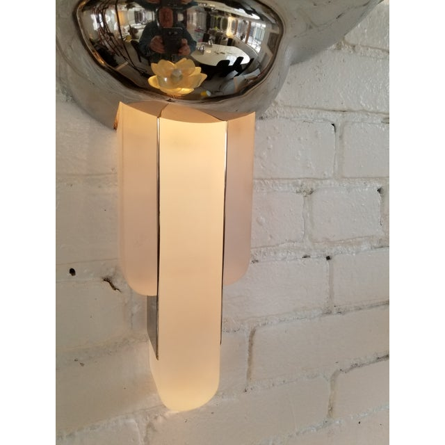Art Deco Karl Springer Purcell Chrome & Lucite Sconce For Sale - Image 3 of 5