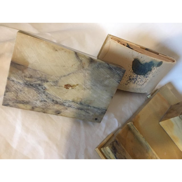 Art Deco Italian Art Deco Siena Marble Double Inkwell Desk Set - 3 Pieces For Sale - Image 3 of 7