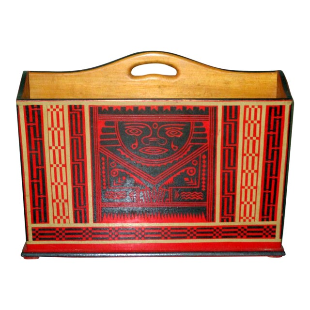 Mexican Lacquerware Magazine Stand With Aztec Designs For Sale