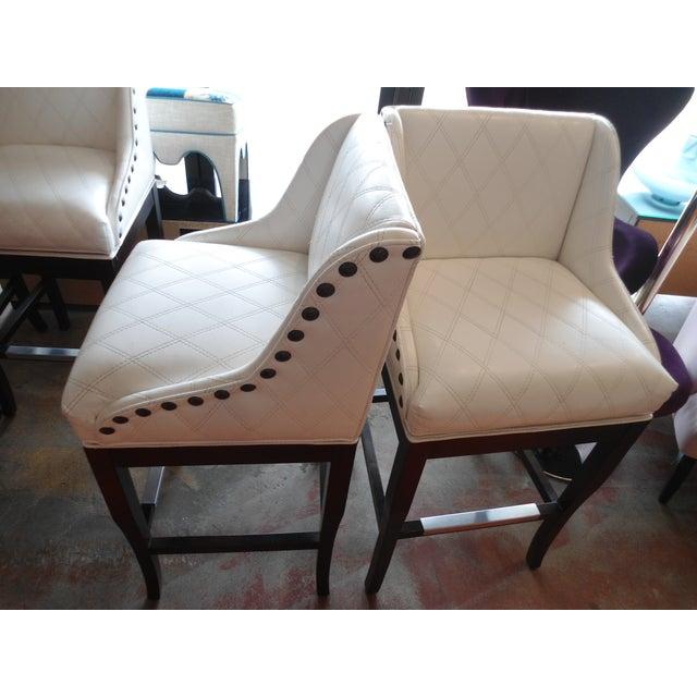 Custom White Stitched Vinyl Barstools - Set of 2 - Image 2 of 5