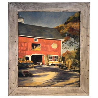 Autumn Landscape Oil on Canvas of Red Barn Signed J. Preece For Sale