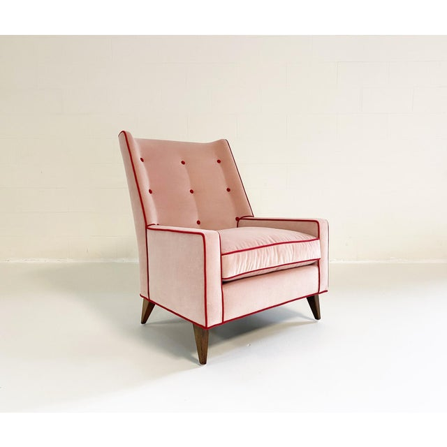 Pink Paul McCobb Style Lounge Chair in Schumacher Velvet and Loro Piana Cashmere For Sale - Image 8 of 8