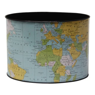 1958 Litho Tin World Map Desk Organizer For Sale