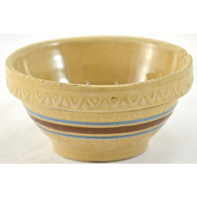 """1930s Blue Stripe 5"""" Yellow Ware Bowl - Image 2 of 5"""