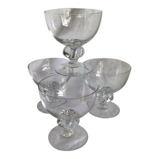 Crystal Knob Style Stem High Quality Champagne Coupes or Sherbert Glasses - Set of 4 For Sale