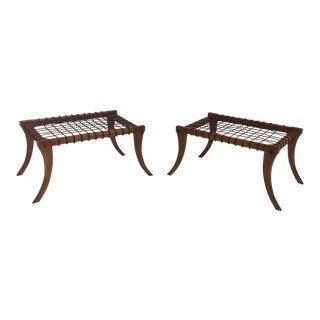 Klismos Mid-Century Style Walnut & Leather Ottomans - a Pair