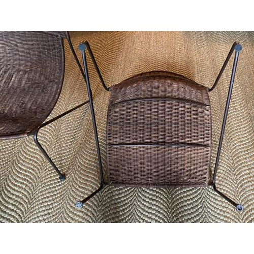 Scoop Form Rattan Lounge Chairs in the Manner of Frederick Weinberg - a Pair For Sale - Image 9 of 10