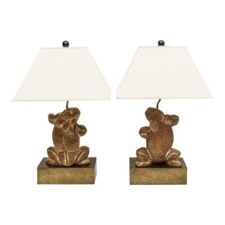 Table Lamps Frog Motif in Carved Wood by Chapman 1970s For Sale