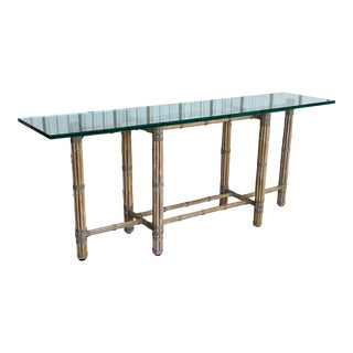 Vintage Organic Modern McGuire Bamboo Console Table For Sale