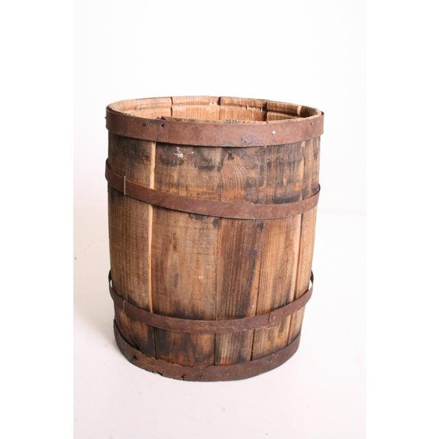 Vintage Rustic Banded Weathered Wood Nail Keg - Image 4 of 11