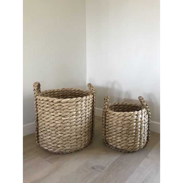 Sand Raquel Round Baskets - A Pair For Sale - Image 8 of 8