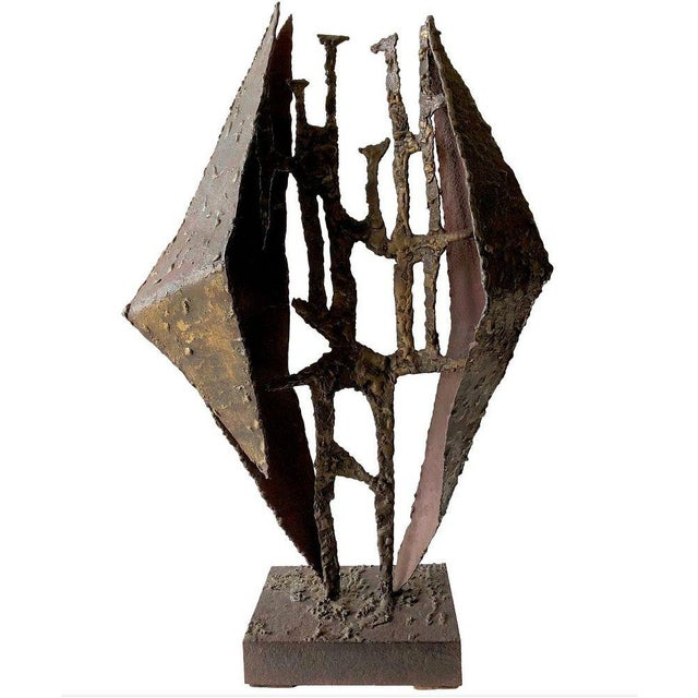Brutalist California Studio Abstract Brutalist Brass Sculpture For Sale - Image 3 of 3