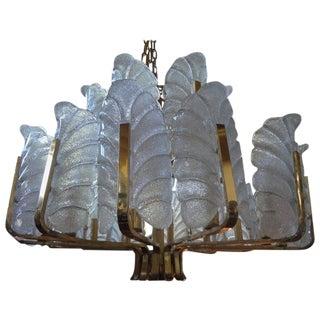 1960's Vintage Carl Faguerlund for Orrefors Brass and Glass Chandelier For Sale