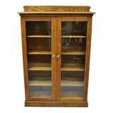 Image of 1900s Victorian Golden Tiger Oak Glass 2 Door Bookcase China Display Cabinet For Sale