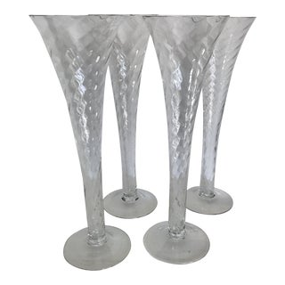 Hand Blown Crystal Romanian Spiral Twist Trumpet Style Champagne Flutes - Set of 4 For Sale