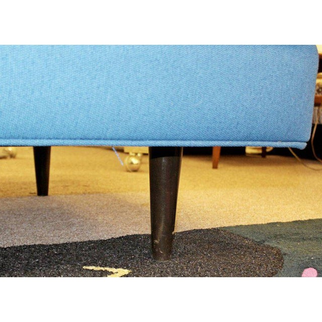 Wood 1960s Mid-Century Modern Tufted Blue Sofa For Sale - Image 7 of 8