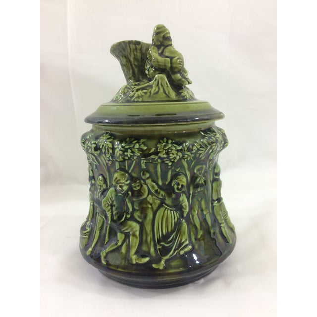 Majolica French 19th Century Tobacco Jar With Party Scene For Sale - Image 4 of 9