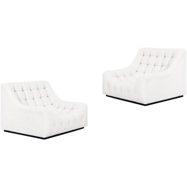 Vintage Deep Biscuit Tufted Lounge Chairs Attributed to Milo Baughman - a Pair For Sale - Image 13 of 13