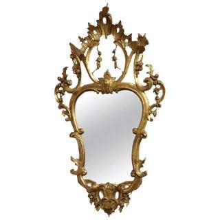 20th Century Italian Louis XV Style Golden Wood Luxury Wall Mirror For Sale