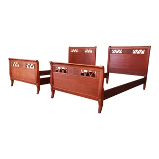 Vintage Carved Mahogany Twin Beds, Pair For Sale