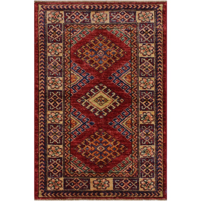 Red Persian Margaret Red/Beige Hand-Knotted Wool Rug - 2'0 X 2'10 For Sale - Image 8 of 8